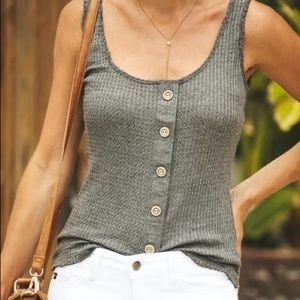 VICI New England Button Down Knit Tank - Charcoal
